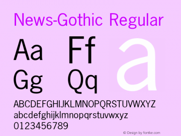 News-Gothic Regular Converted from U:\HOME\PEARCE\AT\TTFONTS\ST000042.TF1 by ALLTYPE Font Sample