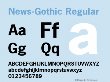 News-Gothic Regular Converted from U:\HOME\PEARCE\AT\TTFONTS\ST000041.TF1 by ALLTYPE Font Sample