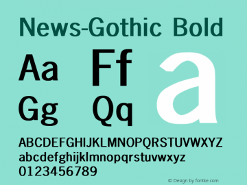 News-Gothic Bold Converted from D:\FONTTEMP\NEWS-GO1.BF1 by ALLTYPE Font Sample