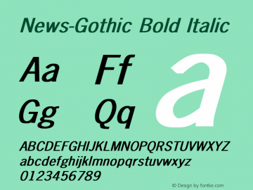 News-Gothic Bold Italic Converted from D:\FONTTEMP\NEWS-GO1.BF1 by ALLTYPE Font Sample