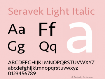 Seravek Light Italic 9.0d3e1 Font Sample