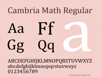 Cambria Math Regular Version 6.82 Font Sample