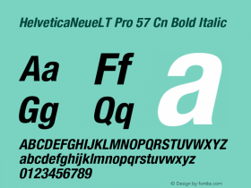 HelveticaNeueLT Pro 57 Cn Bold Italic Version 1.000;PS 001.000;Core 1.0.38 Font Sample