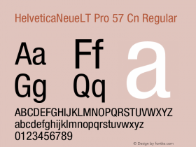 HelveticaNeueLT Pro 57 Cn Regular Version 1.000;PS 001.000;Core 1.0.38 Font Sample