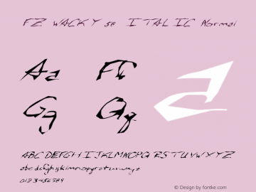 FZ WACKY 58 ITALIC Normal 1.000 Font Sample