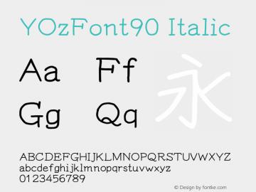 YOzFont90 Italic Version 13.09 Font Sample