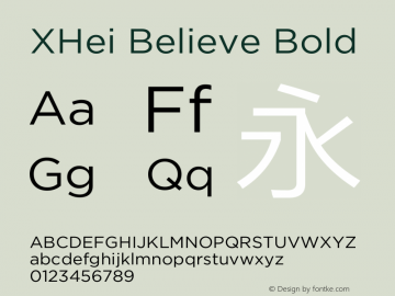 XHei Believe Bold XHei Believe - Version 6.0 Font Sample
