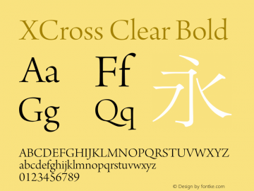 XCross Clear Bold XCross Clear - Version 1.0 Font Sample