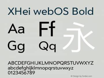 XHei webOS Bold XHei webOS - Version 6.0 Font Sample