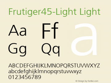 Frutiger45-Light Light Version 1.00 Font Sample
