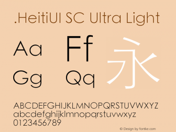 .HeitiUI SC Ultra Light 10.0d5e1 Font Sample
