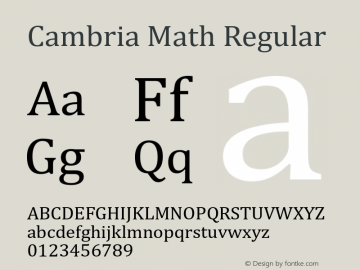 Cambria Math Regular Version 6.90 Font Sample
