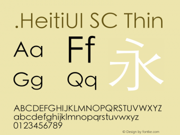 .HeitiUI SC Thin 10.0d6e1 Font Sample