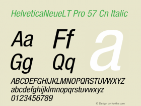 HelveticaNeueLT Pro 57 Cn Italic Version 1.000;PS 001.000;Core 1.0.38 Font Sample