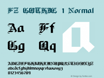 FZ GOTHIC 1 Normal 1.0 Mon Jan 24 23:16:28 1994 Font Sample