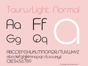 TaurusLight Normal 001.003 Font Sample