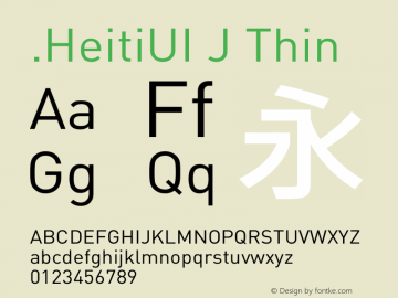 .HeitiUI J Thin 10.0d4e2 Font Sample