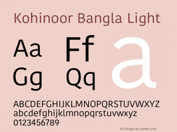 Kohinoor Bangla Light 10.0d3e2 Font Sample