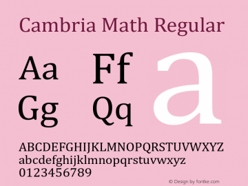 Cambria Math Regular Version 6.91 Font Sample