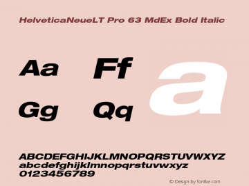HelveticaNeueLT Pro 63 MdEx Bold Italic Version 1.000;PS 001.000;Core 1.0.38 Font Sample
