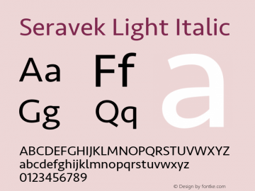 Seravek Light Italic 9.0d2e1 Font Sample
