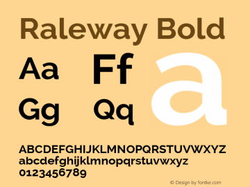 Raleway Bold Version 2.001 Font Sample