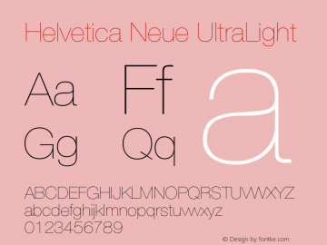 Helvetica Neue UltraLight Version 001.000 Font Sample