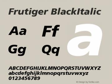 Frutiger BlackItalic Version 001.000 Font Sample