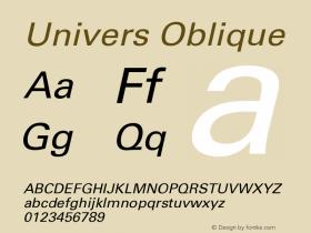 Univers Oblique Version 001.000 Font Sample