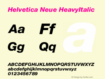 Helvetica Neue HeavyItalic Version 001.000图片样张