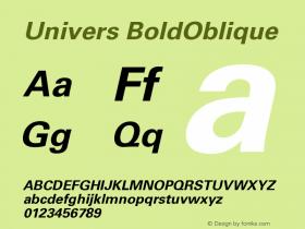 Univers BoldOblique Version 001.000 Font Sample