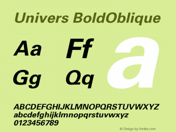 Univers BoldOblique Version 001.000 Font Sample