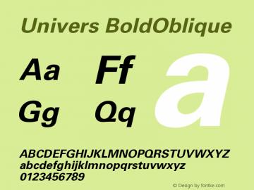 Univers BoldOblique Version 001.000图片样张