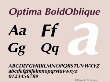 Optima BoldOblique Version 001.000 Font Sample