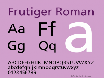 Frutiger Roman Version 001.000图片样张