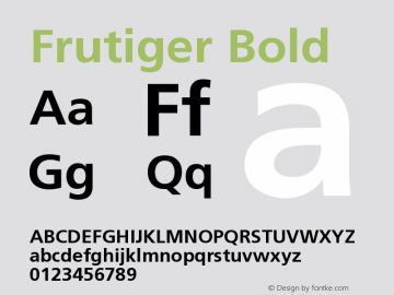 Frutiger Bold Version 001.000 Font Sample