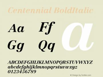 Centennial BoldItalic Version 001.000图片样张