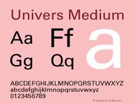 Univers Medium Version 001.000 Font Sample