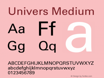 Univers Medium Version 001.000 Font Sample