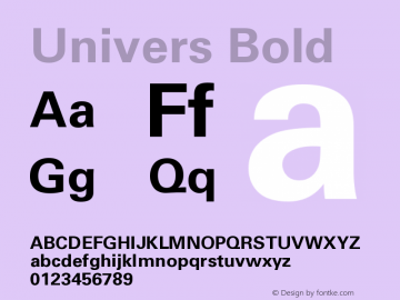 Univers Bold Version 001.000 Font Sample