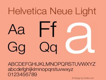 Helvetica Neue Light Version 001.000 Font Sample