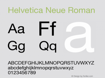 Helvetica Neue Roman Version 001.000图片样张