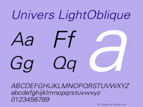 Univers LightOblique Version 001.000 Font Sample