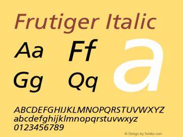 Frutiger Italic Version 001.000 Font Sample