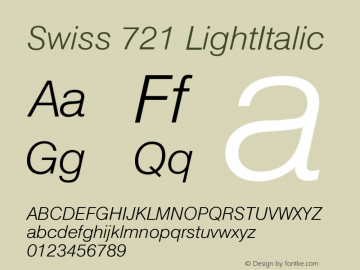 Swiss 721 LightItalic Version 003.001 Font Sample