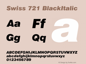 Swiss 721 BlackItalic Version 003.001 Font Sample