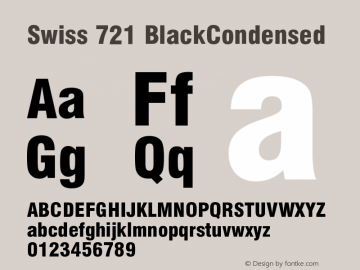 Swiss 721 BlackCondensed Version 003.001 Font Sample