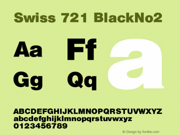 Swiss 721 BlackNo2 Version 003.001 Font Sample