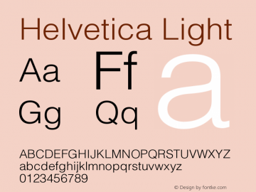 Helvetica Light Version 001.002 Font Sample