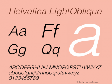 Helvetica LightOblique Version 001.002 Font Sample